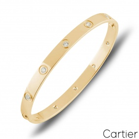 Cartier Yellow Gold Full Diamond Love Bracelet Size 21 B6040521